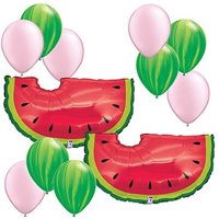 """Watermelon Theme Decorations - 35"""" Watermelon Balloons 12pc Assortment - Fiesta Birthday Party Foil Mylar Latex Balloon Bundle Pack, Includes: (2) 35.., By Fiesta Tribe"""