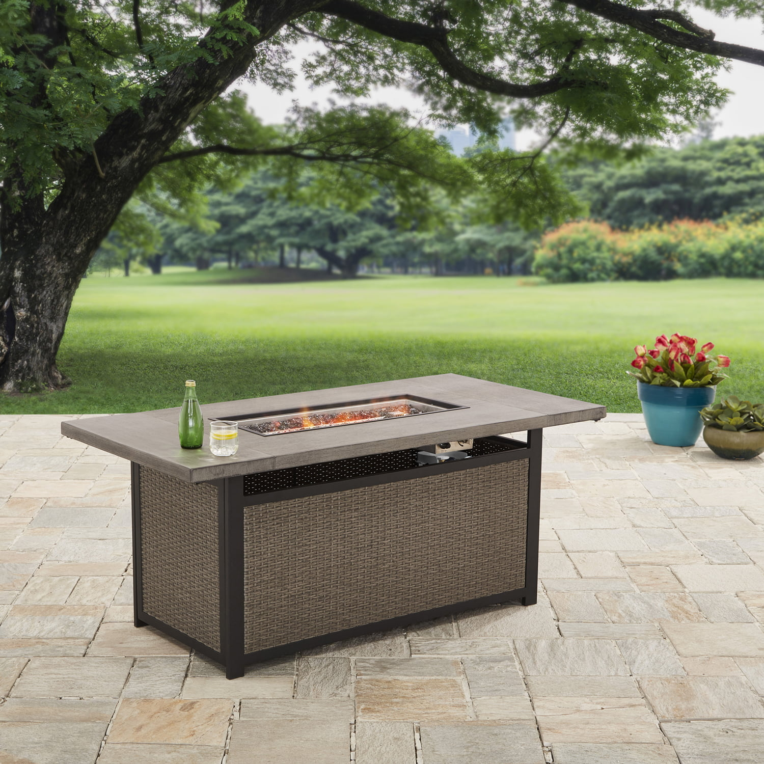 "Better Homes and Gardens 60"" Bristol Rectangular Propane Gas Firepit Table by Courtyard Creations Inc"