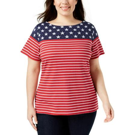 Karen Scott Womens Plus American Flag Rhinestone Short Sleeves T-Shirt