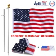 Jetlifee-2 by 3 Ft American Flag & Flag Pole 6 Ft 360 Free Spinning- Polyester 2x3 US Flag with Stitched Stripes Embroidered Stars, Brass Grommets - Flag Pole with Gold Globe -USA Flag Car Sticker