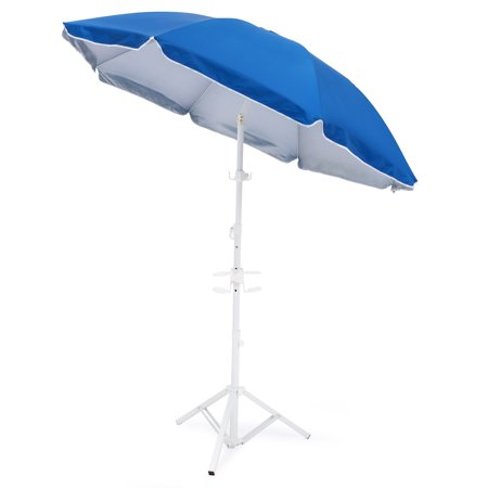 Best Choice Products 5 5ft Beach Umbrella W Tripod Base And Carrying Case Blue