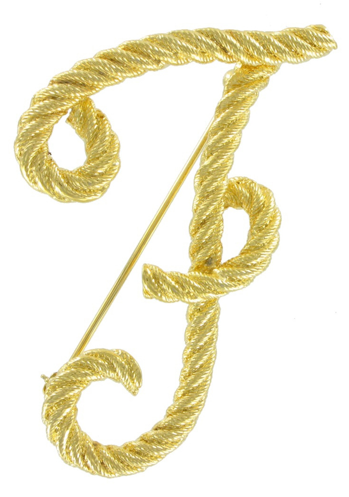 """""""F"""" Initial Script Letter Yellow Gold Tone Rope Pin Brooch by"""