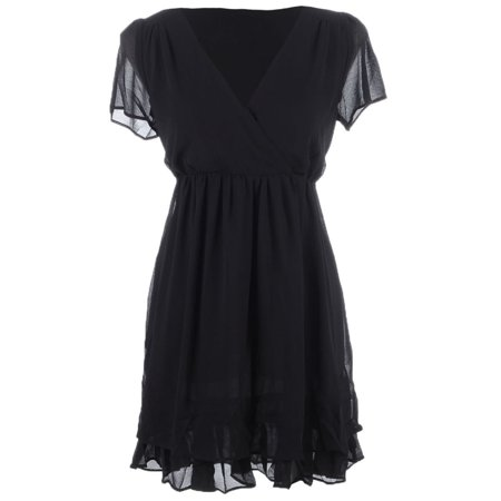 S/M Fit Black Chiffon Overlay Ruffle Hem Trim Tie Back Detail (Satin Trimmed Chiffon Dress)