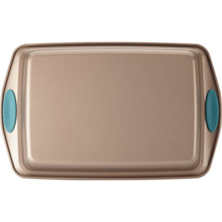 """Rachael Ray Cucina Nonstick Bakeware 9"""" x 13"""" Rectangle Cake Pan, Latte Brown with Agave Blue Handles"""