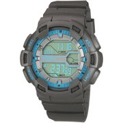 Men's Gray And Blue Digital Chronograph Sport Watch, Gray Resin Strap