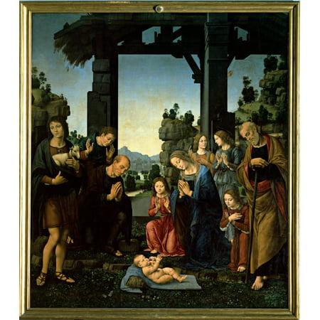 Uffizi Gallery - Lorenzo Di Credi The Adoration Of Christ 15Th Century Panel Italy Tuscany Florence Uffizi Gallery Everett CollectionMondadori Portfolio Poster Print
