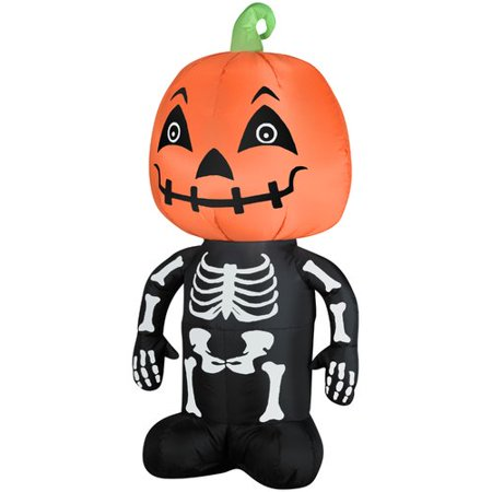 The Holiday Aisle Pumpkin Boy Skeleton SM Inflatable