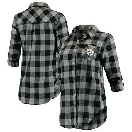 Pittsburgh Steelers Juniors Spirit Week Front Knot Plaid Button-Up Shirt - Black