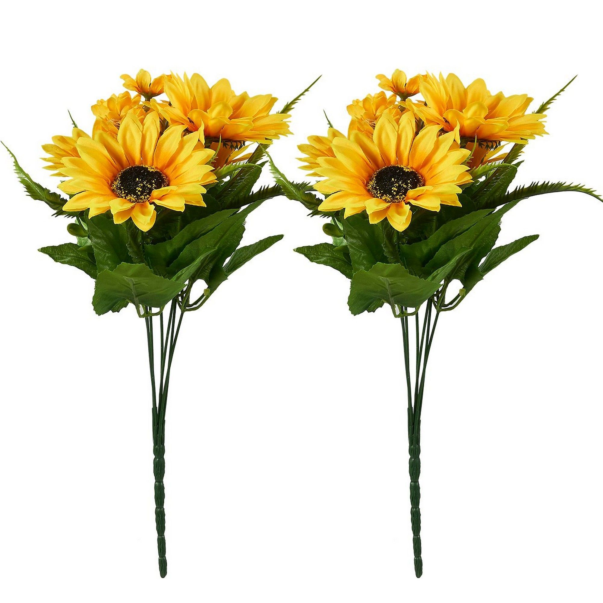 Artificial Sunflowers 2 Bunches Sunflower Bouquet In Yellow Fake Flowers Artificial Plant For Home Decor Wedding Party Patio Walmart Com Walmart Com