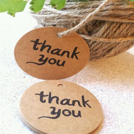 100PCS Thank You Wedding Brown Kraft Paper Tag gifts papers Favor Gift Tags