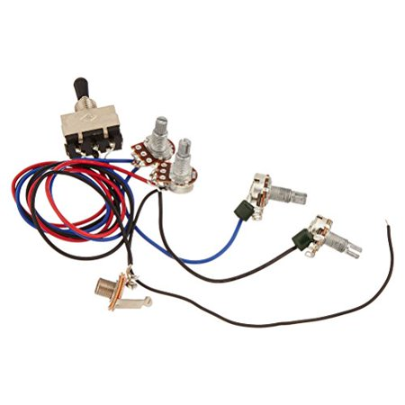 ULTNICE Wiring Harness Prewired 2T 2V 3-Way Toggle Switch Jack Pots for Replacement Gibson Guitar (Black)