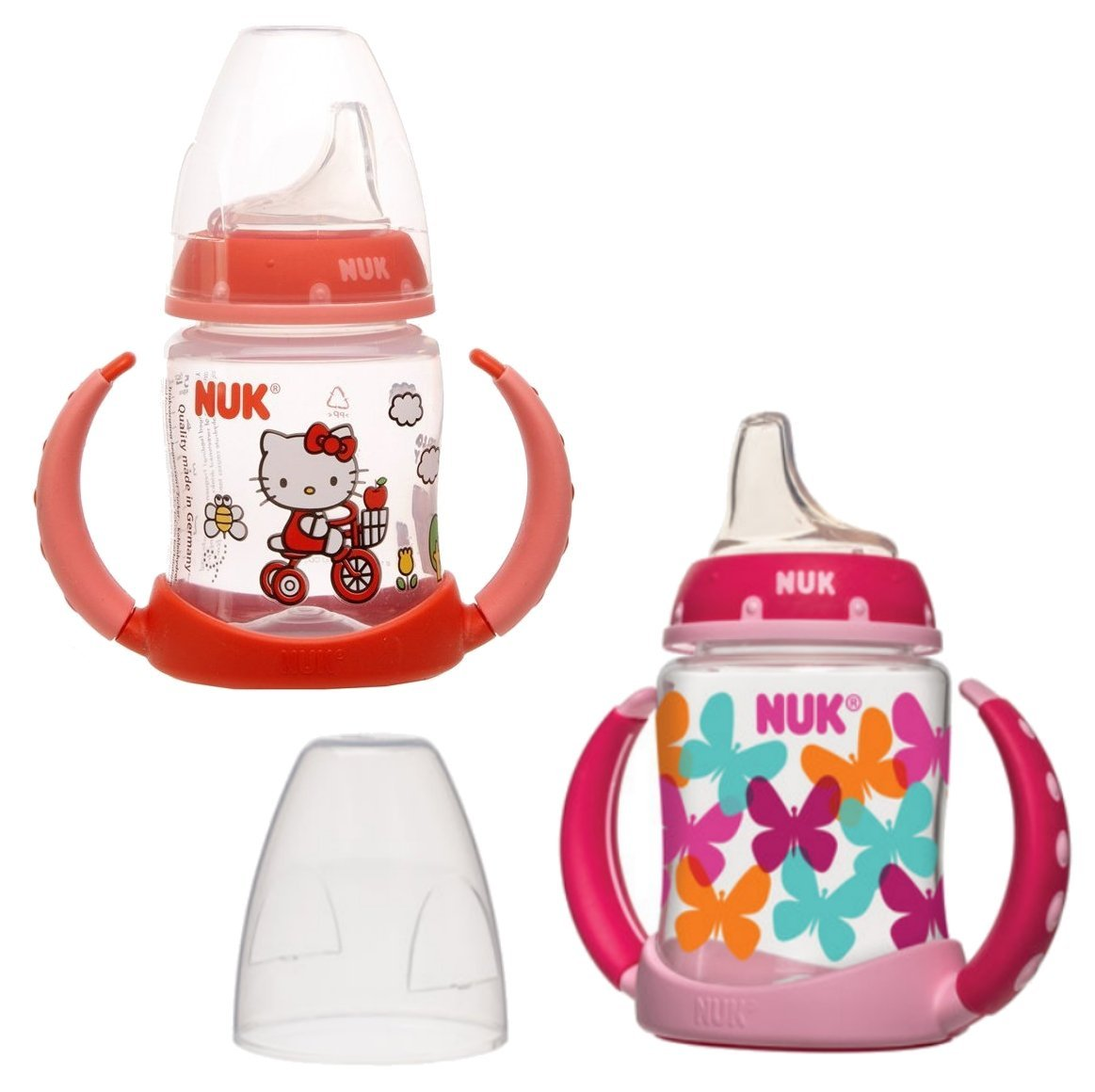 NUK 2 Count Pretty In Pink Leaner Cup, 5 oz, Baby Talk/Hello Kitty