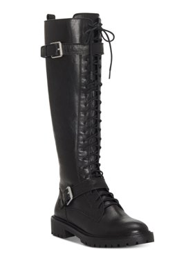 Lucky Brand Inniko Knee High Combat Lace Up Lug Sole Moto Lug Sole Boots (9.5, Black Wild Vegan)