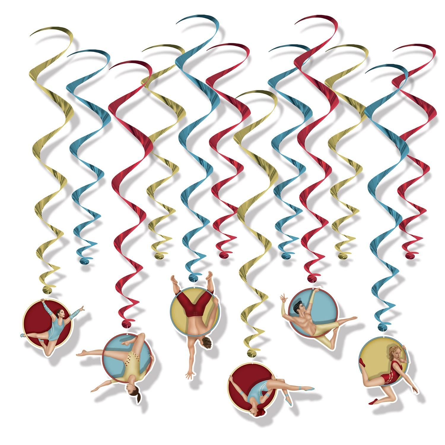 Club Pack of 12 Colorful Vintage Circus Whirls Hanging Decoration 32""