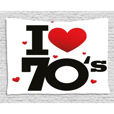 70s Party Decorations Tapestry, The Seventies Icon with Big and Little Hearts Vintage Cute Typography, Wall Hanging for Bedroom Living Room Dorm Decor, 60W X 40L Inches, Red Black, by Ambesonne - Seventies Party Decorations