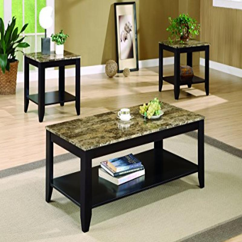 Marble Coffee Table Walmart: Coaster 3pc Coffee Table & End Table Set Faux Marble Top