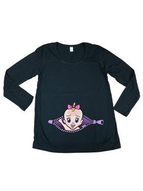 Long Sleeve Baby Girl Zipper Cute Future Mom Mommy Maternity DT T-Shirt Tee