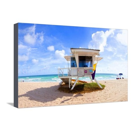 Lifeguard Hut on the Beach, Fort Lauderdale, Florida, USA Stretched Canvas Print Wall Art