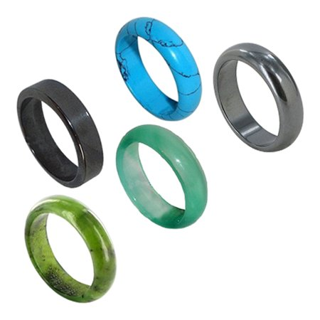 Gem Avenue Hematite Turquoise Soapstone Agate Gemstone Band Set with Assorted Ring Sizes 5.5 to 8.5