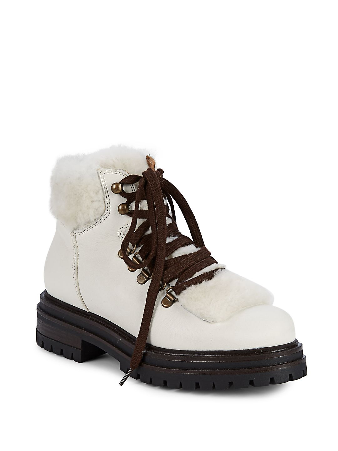 Faux Fur-Trimmed Hiking Boots