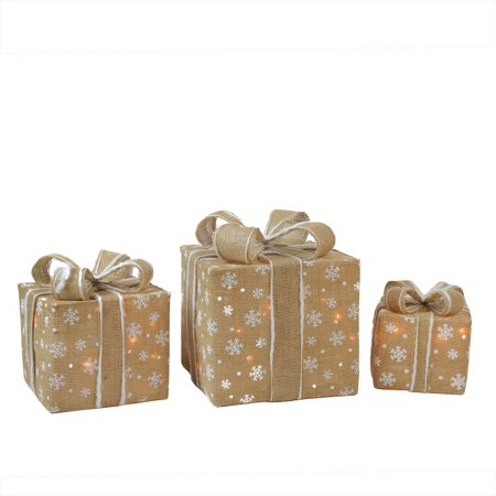 Set of 3 Lighted Natural Snowflake Burlap Gift Boxes Christmas Outdoor Decorations - Christmas Boxes