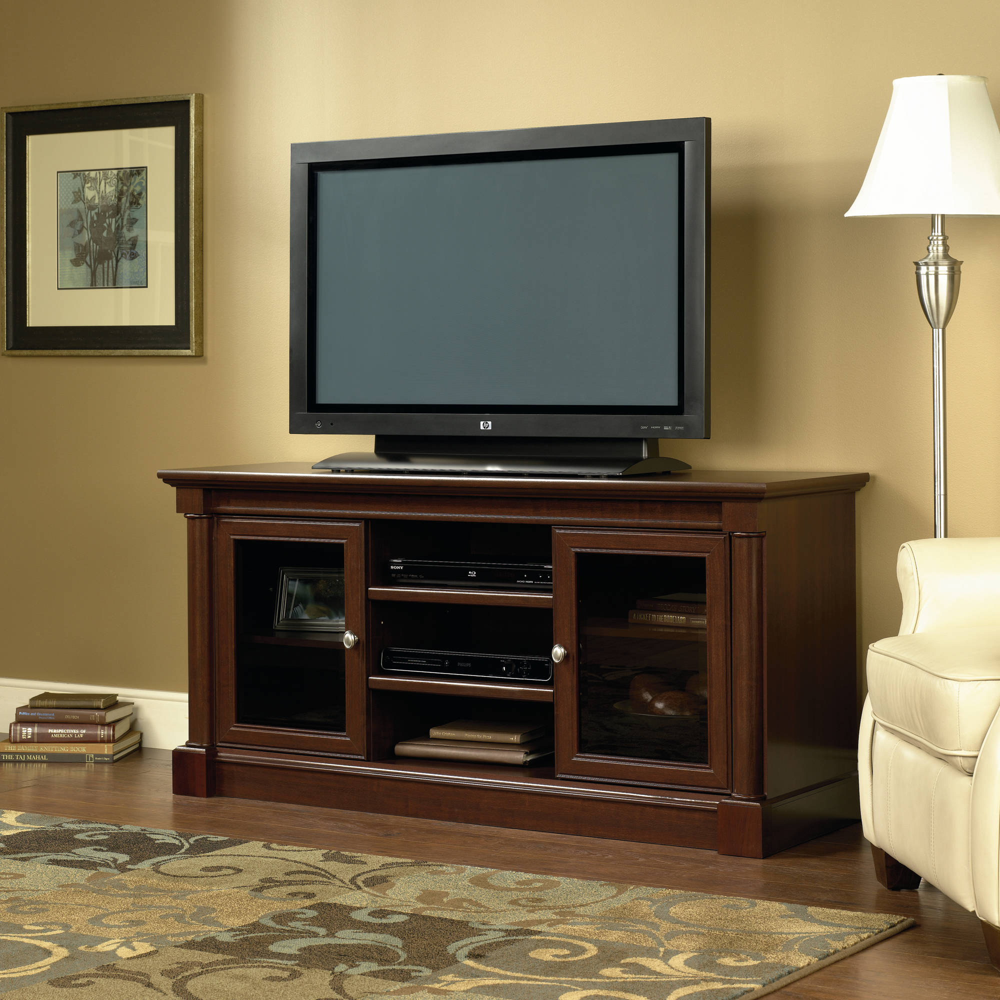 "Sauder Palladia Entertainment Credenza for TV's up to 60"", Cherry Finish"