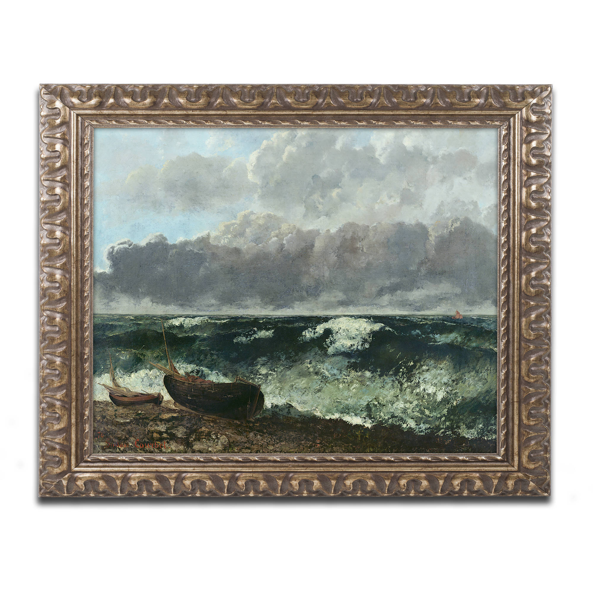 "Trademark Fine Art ""The Stormy Sea"" Canvas Art by Gustave Courbet, Gold Ornate Frame"
