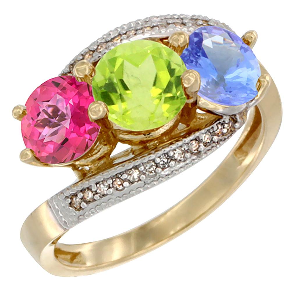 10K Yellow Gold Natural Pink Topaz, Peridot & Tanzanite 3 stone Ring Round 6mm Diamond Accent, sizes 5 10 by WorldJewels