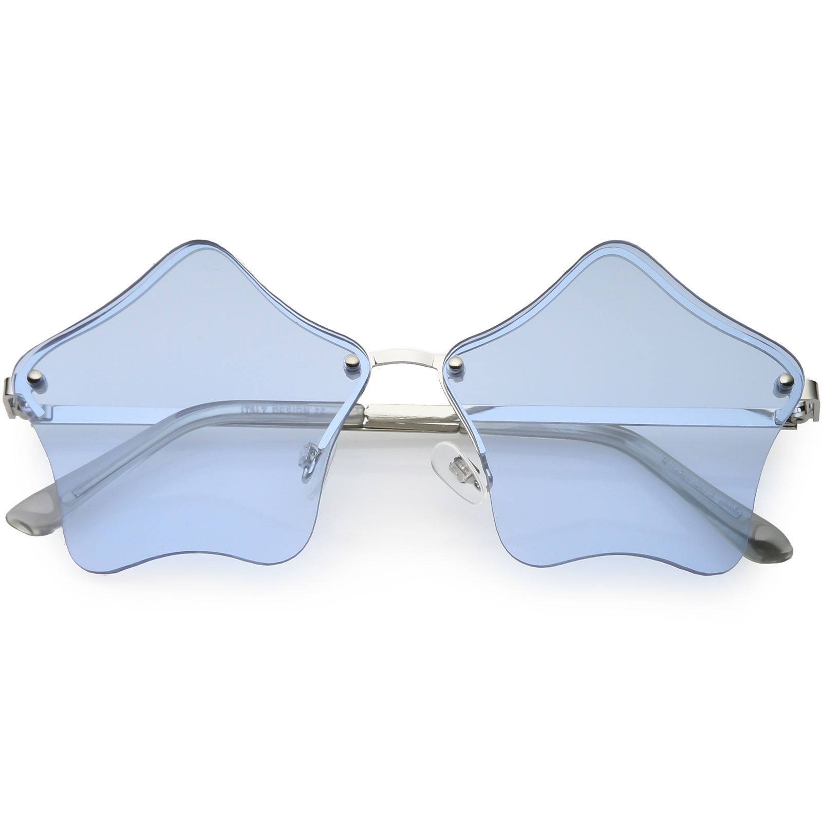 Star Shaped Rimless Sunglasses Metal Frame Color Tinted Lens 55mm (Silver / Blue)