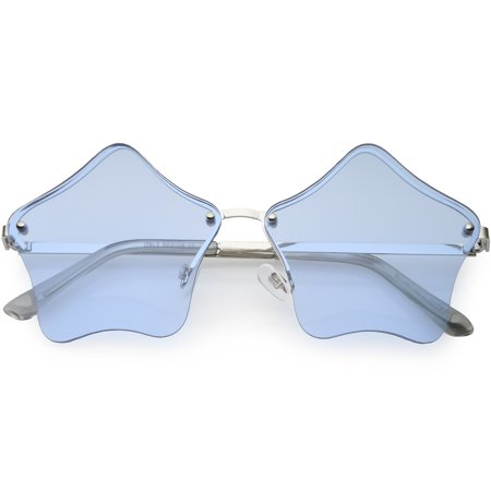 Star Shaped Rimless Sunglasses Metal Frame Color Tinted Lens 55mm (Silver / Blue) - Frames Tinted Lenses