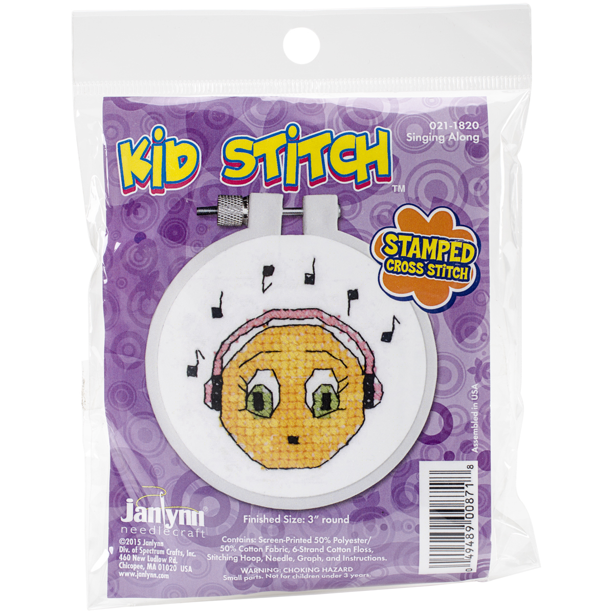 "Kid Stitch Singing Along Stamped Cross Stitch Kit, 3"" Round"