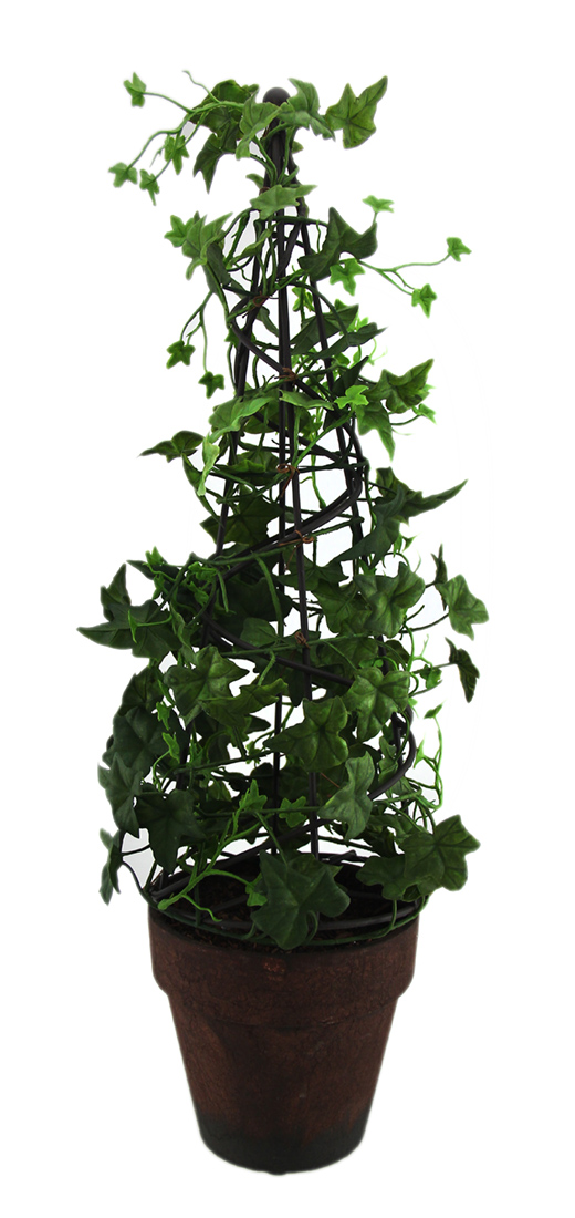18 Inch Tall English Ivy Obelisk Topiary Silk Plant In Terracotta Pot by Merchandise USA