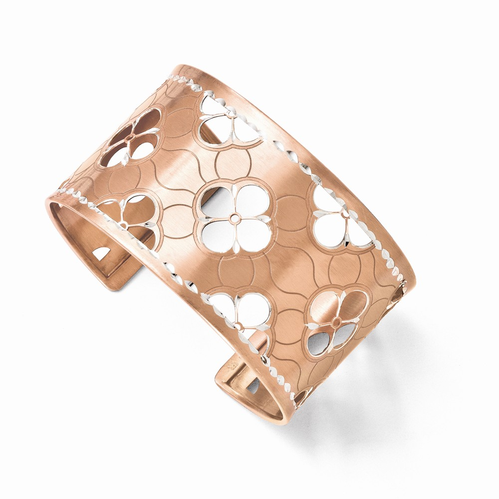 Sterling Silver 8in Rose Gold-Plated D/C Cuff Bangle