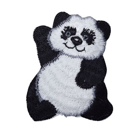 Polar Bear Patch - Panda Bear Waving - Iron On Embroidered Applique Patch
