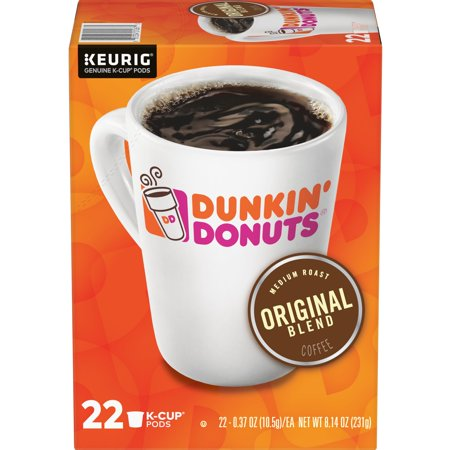 Dunkin' Donuts Original Blend K-Cup Coffee Pods, Medium Roast, 22 Count For Keurig and K-Cup Compatible