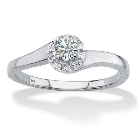Round Created White Sapphire Halo Promise Ring .54 TCW in Platinum over Sterling Silver ()