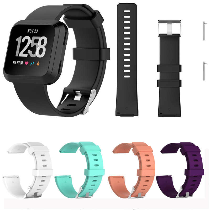 Unisex Silicone Bands Replacement for Fitbit Versa Smart Watch Device,Silicone Straps Replacements for Fibit Versa Fitness Watch, Large & Small, 5 Colors