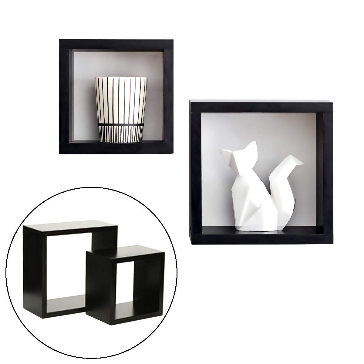 "2pc InPlace Floating Duo Square Cube 8"" & 6"" Shelves Display Decor Mount Storage"