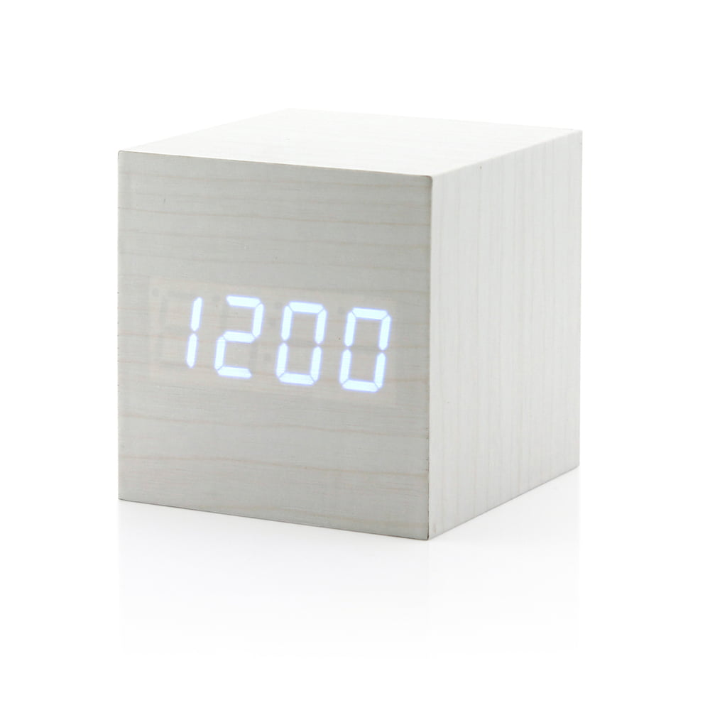 Ultra modern wooden led clock square cube digital alarm thermometer timer calendar updated 2016 brighter led walmart com