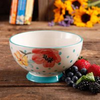"""The Pioneer Woman Flea Market Stoneware 6"""" Turquoise Vintage Bloom Dots Footed Bowl"""