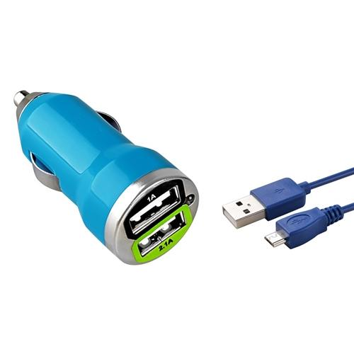 Insten Blue 2-Port USB 2.1A Car Charger Adapter + 6FT microUSB Cable 6' For Cellphone Smartphone Android Universal Tab Tablet