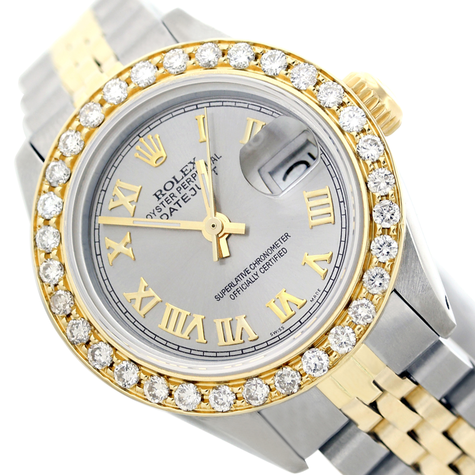 Pre,owned Ladies Datejust Grey Roman Numeral Diamond Bezel Two Tone 26mm