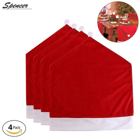 Spencer Set of 4 Santa Red Hat Chair Covers Sets for Christmas Holiday Festive Dinner Party Decor