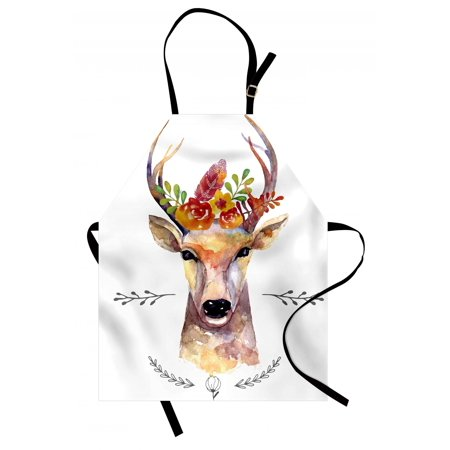 Indie Apron Deer Portrait in Watercolor Painting Style Boho Flower Bouquet Hipster Rustic Artwork, Unisex Kitchen Bib Apron with Adjustable Neck for Cooking Baking Gardening, Multicolor, by