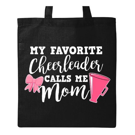 My Favorite Cheerleader Calls Me Mom with Bow and Megaphone in White Tote Bag Black One Size](Cheerleader Bags)