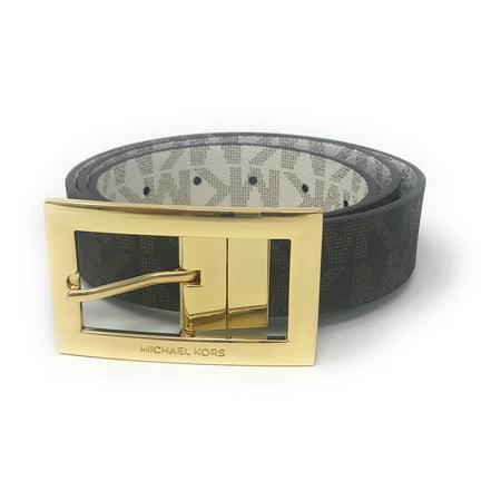 - Michael Kors Women's Rectangle Buckle Reversible Brown To Vanilla Logo Belt 551814C, (XL)