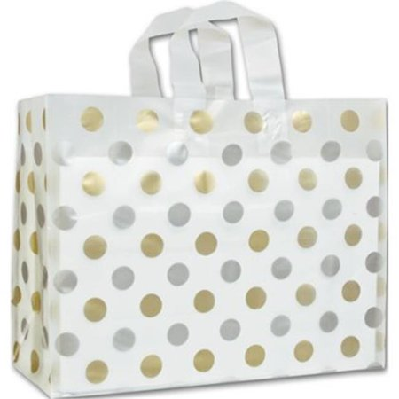 Deluxe Small Business Sales 268 160612 157C 16 X 6 X 12 In  Dots Frosted Flex Loop Shoppers  44  Gold And Silver On Clear