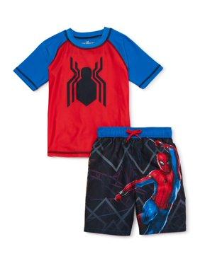 Spider-Man Boys Rash Guard Swim Shirt and Swim Trunks Set, UPF 50+, Sizes 4-7
