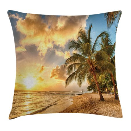 Scenery Decor Throw Pillow Cushion Cover, Tropic Sandy Beach with Horizon at Sunset and Coconut Palm Trees Summer Photo, Decorative Square Accent Pillow Case, 16 X 16 Inches, Cream Blue, by Ambesonne
