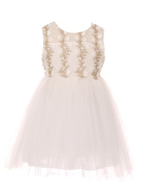 ce5da51e04e Product Image little girls ivory gold lurex floral appliques tulle flower  girl dress. Cinderella Couture